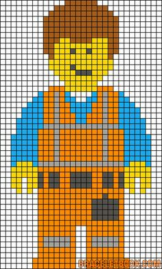 Emmet The Lego Movie perler bead pattern