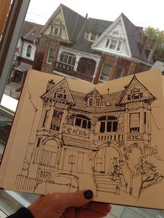 Urban Sketchers: Six hours to kill - Amazing Illustration - Urban Sketchers, Drawing Lessons, Art Sketches, Art Drawings, Drawings Of Buildings, Observational Drawing, Arte Sketchbook, Moleskine Sketchbook, A Level Art