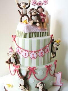 5 Little Monkeys Jumping on the Bed Cake!!! But in bright colors Nicole LOVES this story lol!