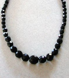 Vintage Japan Retro 1950s Black Glass Beaded Choker Necklace 10% Discount by BESTBUYONLINES, $15.00 SOLD