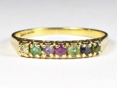 LOVELY UNUSUAL VINTAGE ENGLISH 9K GOLD 'DEAREST' ACROSTIC & CARVED WORD RING