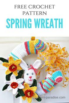 FREE CROCHET PATTERN - Spring Wreath! | Pattern Paradise #crochet #patternparadisecrochet #spring #bunny #wreath #easterwreath