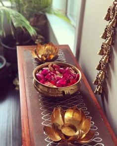 Brass urli, ethnic home decor, indian home, muggu decor, rose petal decor What's Decoration? Decoration is the art of decorating …