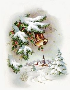 Vintage christmas bell and village Vintage Christmas Images, Old Christmas, Christmas Scenes, Christmas Mood, Retro Christmas, Christmas Bells, Christmas Pictures, Xmas, Vintage Greeting Cards