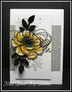 Stampin Up Bloom with Hope floral card by Nikki - My Sandbox for Just Add Ink #225....Colour!