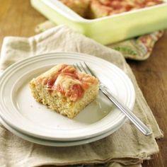 Orange scented honey rhubarb swirl cake