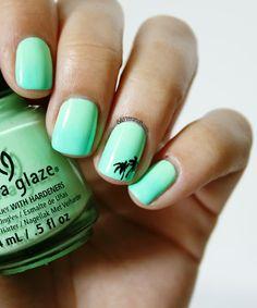 Beach nails, florida nails, palm tree nails, nails with palm trees, green. Great Nails, Love Nails, How To Do Nails, Fun Nails, Simple Nails, Glitter Nails, Gradient Nails, Summer Toe Nails, Beach Nails