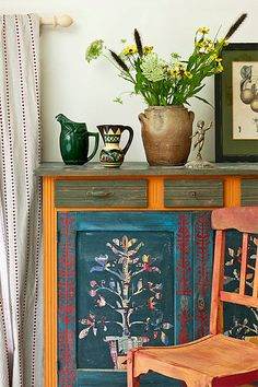 Painted Cabinet in Annie Sloane's Home****like all the different stuff going on on one piece