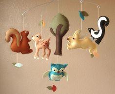 Woodland Creatures Felt Mobile - Deer, Squirrel, Rabbit, Skunk, Owl and Tree (Custom Colors). $90.00, via Etsy.