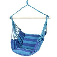 Hammock Rope Swing Seat Blue Stripe Outdoor Camping, Porch, Patio Portable  #HammockChair