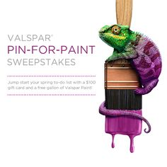 Look for a new image of Val, the chameleon, hidden within an official Valspar board each week from May 6th to June 2nd & repin it for a chance to win! Visit the Valspar Facebook page to register. As you start your project, find out how you can love your color or change your color at loveyourcolor.com