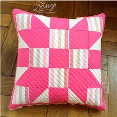 Pink star and minki fabric baby cushion