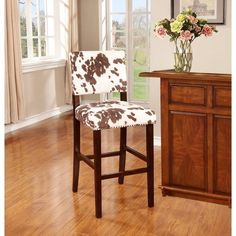 """30"""" Brown & Creme Rustic Faux Cow Hide Print Counter Bar  Kitchen Stool New #RusticPrimitive"""