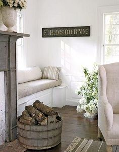 another bench next to fireplace