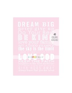 DREAM BIG Be Kind Nursery Subway Wall Art Print . by ILoveItAll