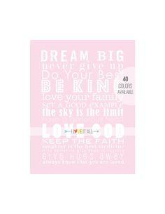 DREAM BIG Be Kind Nursery Subway Wall Art Print . by ILoveItAll