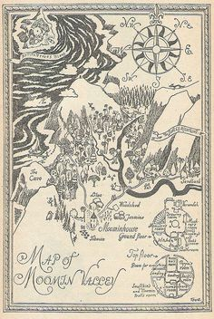 Map of Moomin Valley by Tove Jansson Tove Jansson, Les Moomins, Moomin Valley, Fantasy Map, Map Art, Plans, Book Illustration, Book Art, Vintage World Maps