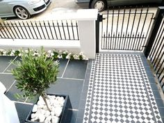 black and white victorian mosaic tile path garden wall metal agte and rail charcoal black paving clapham london Front Gardens, Small Backyard Gardens, Backyard Garden Design, Garden Spaces, Small Gardens, Garden Ideas Uk, Garden Inspiration, Home And Garden, Victorian Mosaic Tile
