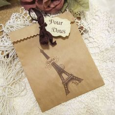 Paris French Eiffel Kraft Paper Party Favor Bags by auntiesjammies, $11.00