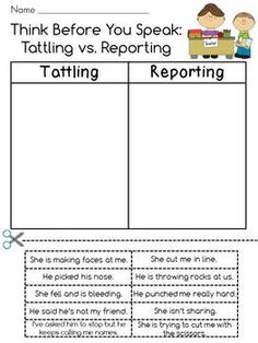 Tattling vs. Reporting Cut and Paste (with bonus!). So using this!