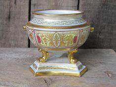 "DAMAGED, FOR REPAIR. Antique Dresden Porcelain Tureen / Tripod Bowl; H5""/ 12cm White & Gold German Porcelain Dish; Collectible Porcelain"