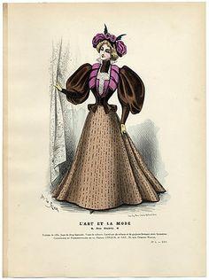 L'Art et la Mode 1895 N°05 Marie de Solar Hand colored plate