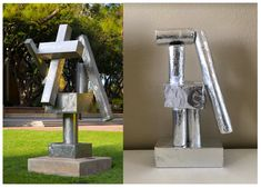 Artist David Smith made sculptures by welding together stainless steel rectangles and cylinders (left). Today you're going to practice your building skills like Smith. Collect empty paper towel rolls, toilet paper rolls and other pieces of cardboard from around your home. Wrap each piece in aluminum paper. Play around with different arrangements of your cardboard pieces to construct your sculpture, then secure your pieces with tape. If you can, display your work outside! Ucla Alumni, Ucla Campus, David Smith, Printable Maps, Alexander Calder, Abstract Words, Barbara Hepworth, Henry Moore, Outdoor Sculpture