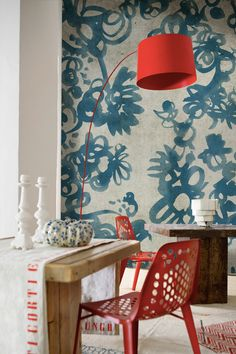 Modern Red Accent Chair Dining Ideas – Home Decor Ideas Red Accent Chair, Wallpaper Wall, Watercolor Wallpaper, Wallpaper Ideas, Wallpaper Collection, Bedroom Minimalist, Interior And Exterior, Interior Design, Contemporary Wallpaper