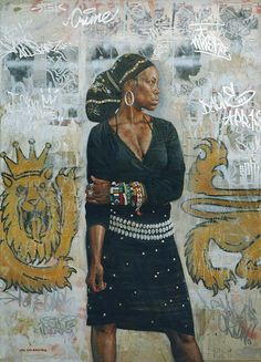 digital-images: The Lioness Artist: Tim Okamura Afro Painting, Figure Painting, African American Art, African Art, African Design, African Beauty, Tim Okamura, Afro Art, Black Artists