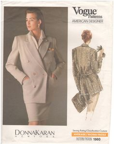 1987 - Vogue 1960 Vintage Sewing Pattern American Designer Donna Karan New York Sizes 6/8/10 Jacket Double Breasted Lined Loose Notch Collar
