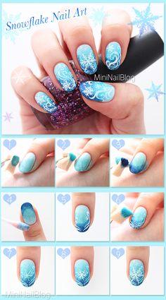 Snowflake Nail Art Design Tutorial! Please visit my blog for the details :D https://nailbees.com/snowflake-nail-art