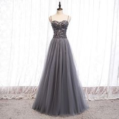 Gray tulle sequins long prom dress<br /><br />Silhouette: A-line <br /><br />Fabric: tulle, sequins<br /><br />Back detail: lace up<br /><br />*** Delivery times ***<br /><br />Processing time: working days<br /><br />Shipping time: working days<br /> Black Party Dresses, A Line Prom Dresses, Tulle Prom Dress, Formal Dresses For Women, Homecoming Dresses, Evening Dresses, Prom Gowns, Prom Outfits, Sweetheart Prom Dress