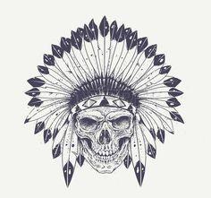 tatouage: Le style Dotwork crâne avec un chapeau de plumes indien. Vecteur Grunge art. Illustration