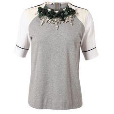 MARNI Embellished Cotton T-Shirt ($680) ❤ liked on Polyvore