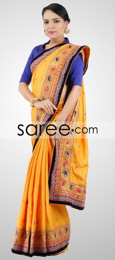 YELLOW SILK SAREE WITH MIRROR WORK-BY ASOPALAV  #Saree #GeorgetteSarees #IndianSaree #Sarees  #SilkSarees #PartywearSarees #RegularwearSarees #officeWearSarees #WeddingSarees #BuyOnline #OnlieSarees #NetSarees #ChiffonSarees #DesignerSarees #SareeFashion
