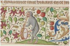With pipe and tabor he's a one monkey band - Bibliothèque nationale de France, Département des manuscrits, Français 1654 - http://gallica.bnf.fr/ark:/12148/btv1b85100277/f316.item