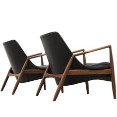 Ib Kofod-Larsen Set of Two 'Seal' Lounge Chairs in Black Leather 1 Danish Furniture, Modern Bedroom Furniture, Mid Century Modern Furniture, Modern Armchair, Modern Chairs, Black Leather Chair, Victorian Living Room, Chairs For Small Spaces, Luxury Chairs