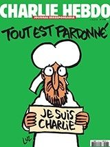 """Charlie Hebdo to release new issue on Wednesday, Jan. 15, 2015. Cover reads, """"All is forgiven,"""" a call to forgive the terrorists who murdered their colleagues last week,  and urges Muslims to accept humour."""