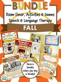 Everything you need for a Fall theme in your speech room! Fun activities, crafts, games, worksheets for kids PLUS owl themed printable classroom decor.
