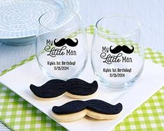 My Little Man Baby Shower Favor - Personalized Stemless Wine Glass - Kate Aspen Actually, I like the cookies!