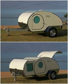 The Gidget Retro Teardrop Camper almost doubles its size with a simple slide-out action