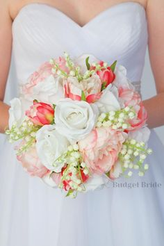 This bouquet is made with pink peonies and white roses accented with lily of the valley Lily Of The Valley Bridal Bouquet, Lily Bouquet Wedding, White Wedding Bouquets, Bride Bouquets, Gorgeous Wedding Dress, Dream Wedding, Stargazer Lily Wedding, Beautiful Dress Designs, Pink And White Weddings