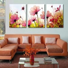 Frame Orchid Wall Painting Flower Canvas Painting Home Decoration Pictur - bdarop Living Room Paint, Living Room Decor, Wall Painting Flowers, Modern Wall Paint, Deco Floral, Flower Canvas, Creative Walls, Art Decor, Home Decor