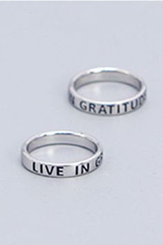 Live in gratitude, and life will always feel abundant! This mantra ring is here to help you embrace all the gifts that surround you. Inspirational Jewelry, Mantra, Gratitude, Band Rings, Jewelry Design, Wedding Rings, Engagement Rings, Sterling Silver, Live