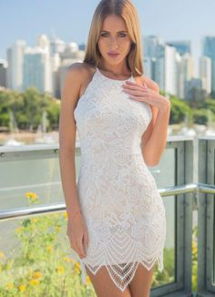 33b3d6edb4a White Lace Dress w  Raw Lace Hemline for only  72.00. Browse the UsTrendy  catalog