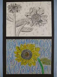 In this project, sixth grade artists were inspired by one of Vincent Van Gogh's most famous subjects- sunflowers! In the first flower stud...