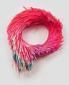 Artist: Lauren Clay Title: The unending amends we've made (imperishable wreath), 2010, acrylic on cut paper, papier-mâché, wire, wood