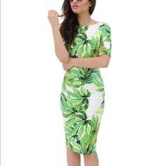 Ax Paris Tropical Cotton Leaf Print Midi Dress