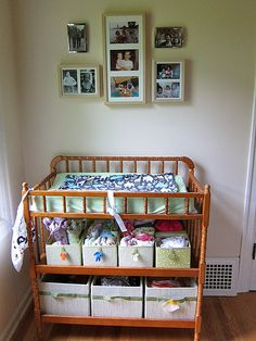 Organizing cloth diapers...now where to put the changing table in our little house?