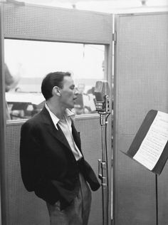 Frank Sinatra in the recording studio.
